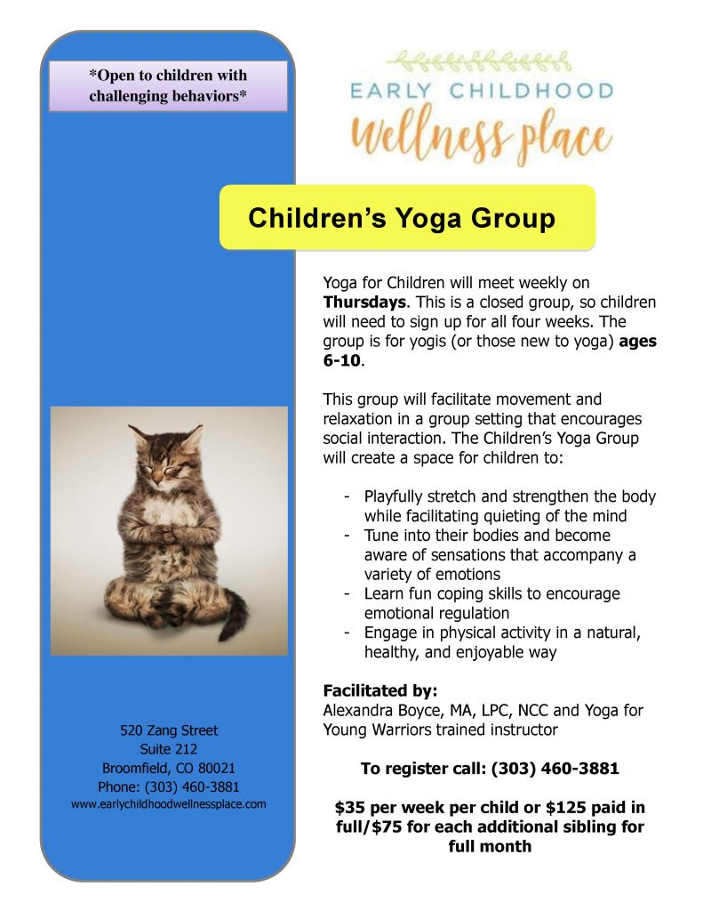 Kids Support Group Flyer | Children's Yoga Group in Broomfield, CO 80021